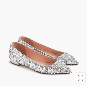 J. Crew pointed toe flats in sequin. Size 8